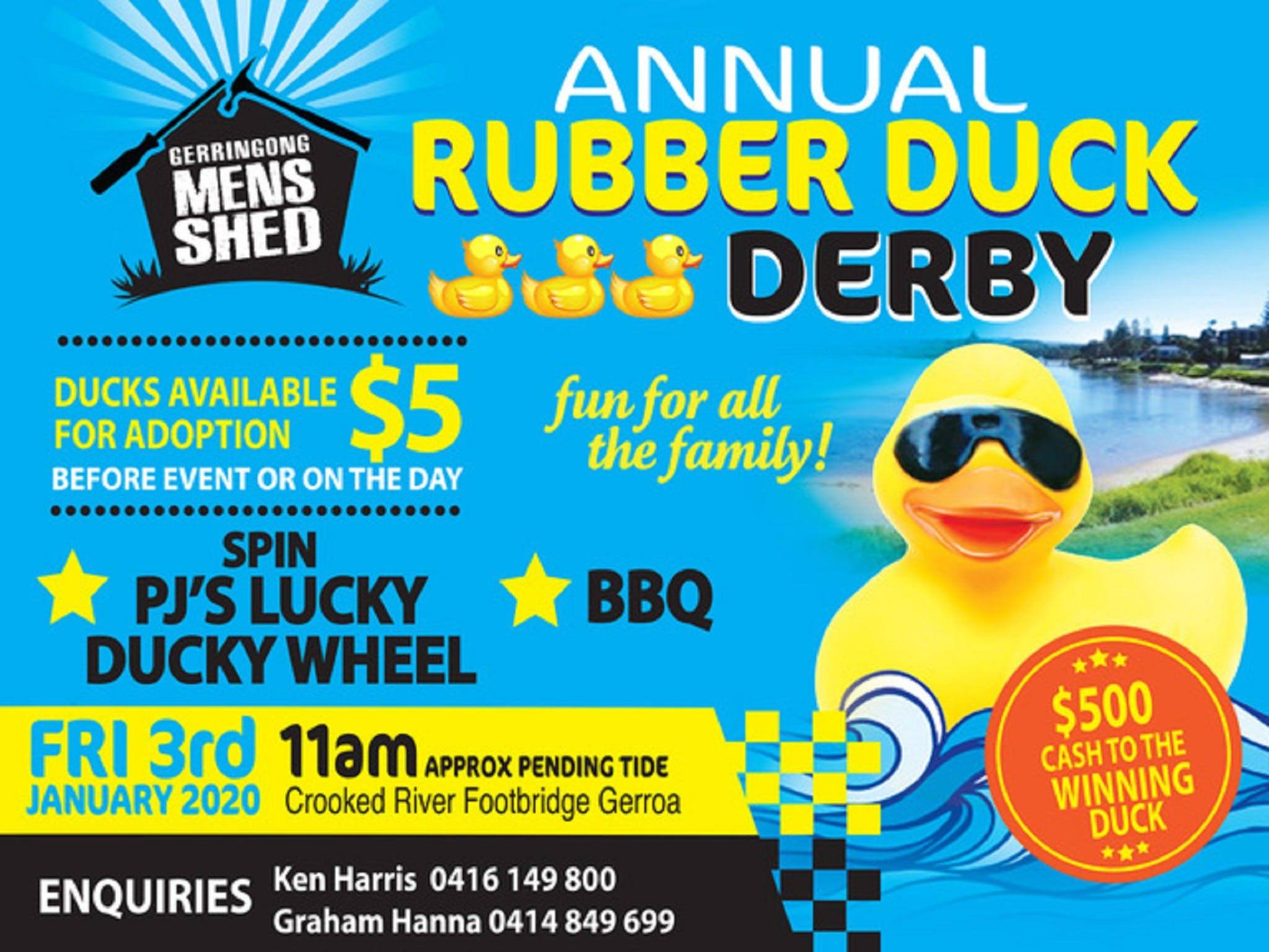 Gerringong Mens Shed Annual Duck Derby - Accommodation in Bendigo